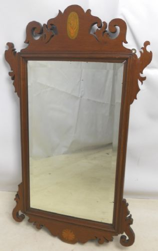 Queen Anne Style Mahogany Hanging Wall Mirror